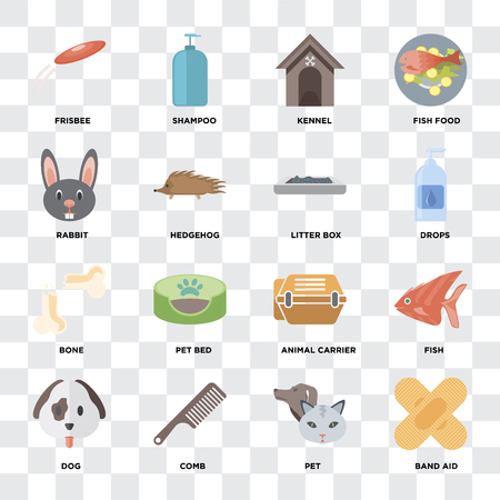 Set Of 16 icons such as Band aid, Pet, Comb, Dog, Fish, Frisbee, Rabbit, Bone, Litter box on transparent background, pixel perfect