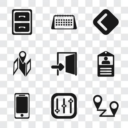 Set Of 9 simple transparency icons such as Placeholders, Controls, Smartphone, Id card, Exit, Map, Back, Calendar, Archive, can be used for mobile, pixel perfect vector icon pack on transparent