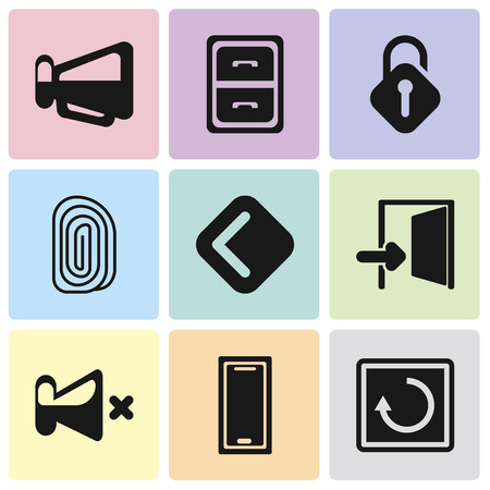 Set Of 9 simple editable icons such as Restart, Smartphone, Mute, Exit, Back, Fingerprint, Unlocked, Archive, Megaphone, can be used for mobile, pixel perfect vector icon pack Illustration
