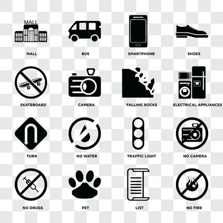 Set Of 16 icons such as No fire, List, Pet, drugs, camera, Mall, Skateboard, Turn, Falling rocks on transparent background, pixel perfect