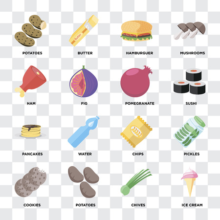 Set Of 16 icons such as Ice cream, Chives, Potatoes, Cookies, Pickles, Ham, Pancakes, Pomegranate on transparent background, pixel perfect