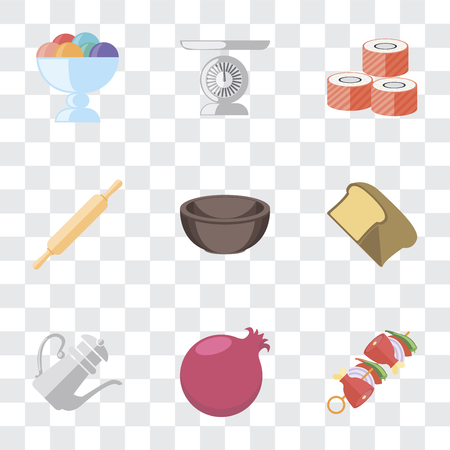 Set Of 9 simple transparency icons such as Kebab, Pomegranate, Teapot, Bread, Bowl, Rolling pin, Sushi, Scale, Ice cream, can be used for mobile, pixel perfect vector icon pack on transparent 写真素材 - 111926962