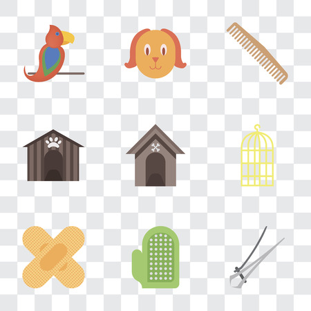 Set Of 9 simple transparency icons such as Nail trimmer, Glove, Band aid, Bird cage, Kennel, Comb, Dog, Parrot, can be used for mobile, pixel perfect vector icon pack on transparent