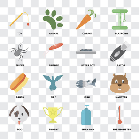 Set Of 16 icons such as Thermometer, Shampoo, Trophy, Dog, Hamster, Toy, Spider, Brush, Litter box on transparent background, pixel perfect