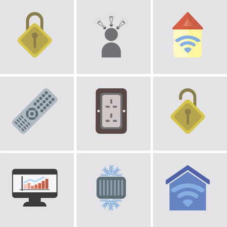 Set Of 9 simple editable icons such as Smart home, Cool, Dashboard, Locked, Plug, Remote, Automation, Smart, Locking, can be used for mobile, pixel perfect vector icon pack 向量圖像
