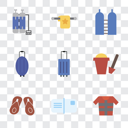 Set Of 9 simple transparency icons such as Lifejacket, Postcards, Flip flops, Sand bucket, Luggage, Oxygen, Towel, Oxygen tank, can be used for mobile, pixel perfect vector icon pack on Illustration