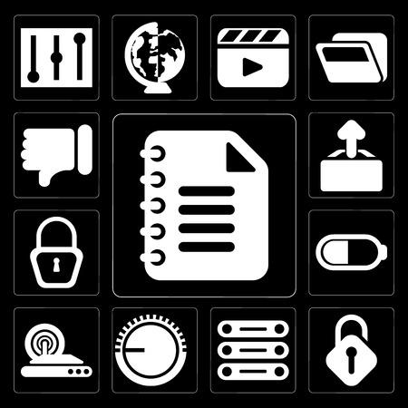 Set Of 13 simple editable icons such as Notepad, Unlocked, Database, Volume control, Wireless internet, Battery, Locked, Upload, Dislike on black background Ilustração