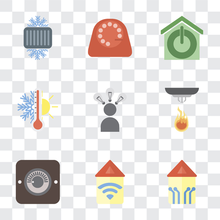 Set Of 9 simple transparency icons such as Smart home, Automation, Dimmer, Sensor, Smart, Thermostat, Dial, Cool, can be used for mobile, pixel perfect vector icon pack on transparent
