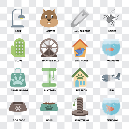 Set Of 16 icons such as Fishbowl, Scratching, Bowl, Dog food, Fish, Lamp, Glove, Shopping bag, Bird house on transparent background, pixel perfect