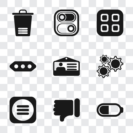 Set Of 9 simple transparency icons such as Battery, Dislike, Menu, Settings, Id card, More, Switch, Trash, can be used for mobile, pixel perfect vector icon pack on transparent background Ilustrace
