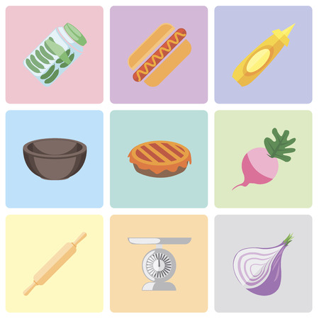 Set Of 9 simple editable icons such as Onion, Scale, Rolling pin, Radish, Pie, Bowl, Mustard, Hot dog, Pickles, can be used for mobile, pixel perfect vector icon pack