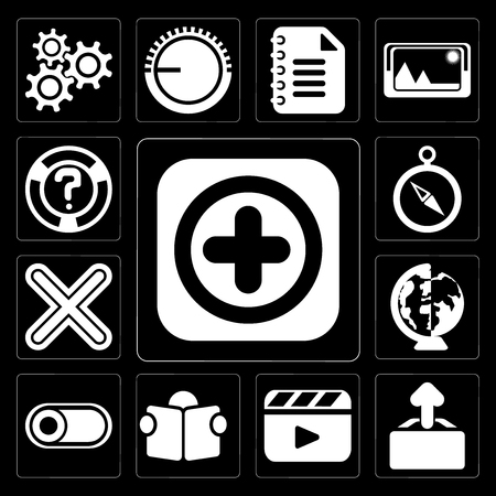 Set Of 13 simple editable icons such as Add, Upload, Video player, Reading, Switch, Worldwide, Multiply, Compass, Help on black background Stockfoto - 111926977