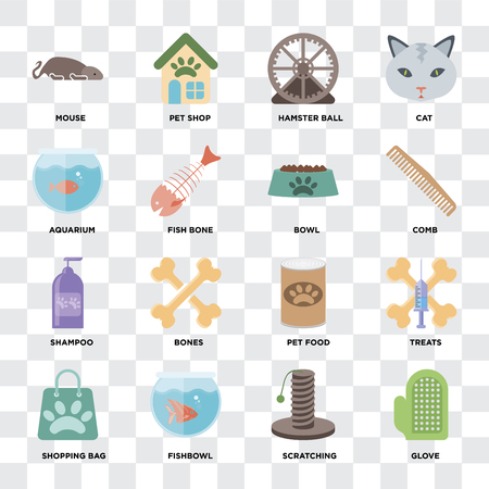 Set Of 16 icons such as Glove, Scratching, Fishbowl, Shopping bag, Treats, Mouse, Aquarium, Shampoo, Bowl on transparent background, pixel perfect