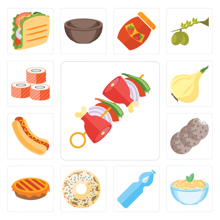 Set Of 13 simple editable icons such as Kebab, Pasta, Water, Doughnut, Pie, Cookies, Hot dog, Onion, Sushi, web ui icon pack Stock Illustratie