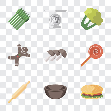 Set Of 9 simple transparency icons such as Hamburguer, Bowl, Rolling pin, Jawbreaker, Mushrooms, Gingerbread, Cauliflower, Scale, Asparagus, can be used for mobile, pixel perfect vector icon pack on