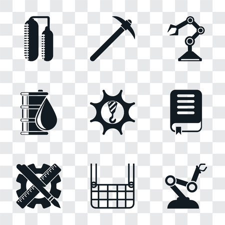 Set Of 9 simple transparency icons such as Robot arm, Elevator, Planning, Book, Machinery, Oil, Pick, Silo, can be used for mobile, pixel perfect vector icon pack on transparent background