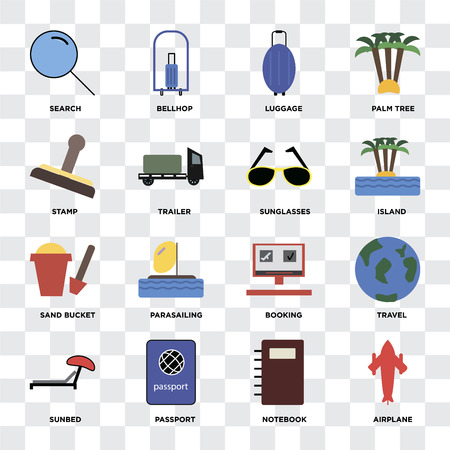 Set Of 16 icons such as Airplane, Notebook, Passport, Sunbed, Travel, Search, Stamp, Sand bucket, Sunglasses on transparent background, pixel perfect