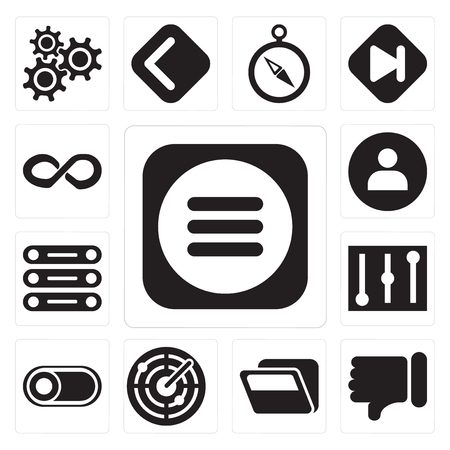 Set Of 13 simple editable icons such as Menu, Dislike, Folder, Radar, Switch, Controls, Database, User, Infinity, web ui icon pack Illustration