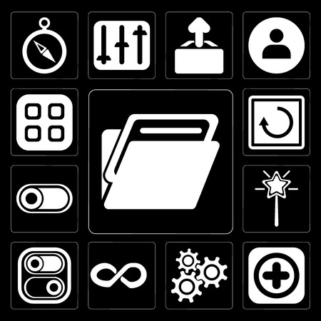 Set Of 13 simple editable icons such as Folder, Add, Settings, Infinity, Switch, Magic wand, Restart, Menu on black background