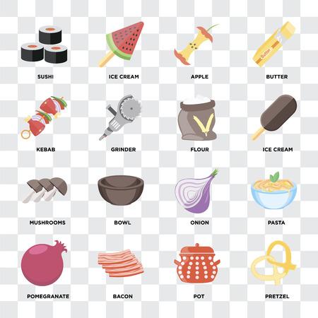 Set Of 16 icons such as Pretzel, Pot, Bacon, Pomegranate, Pasta, Sushi, Kebab, Mushrooms, Flour on transparent background, pixel perfect