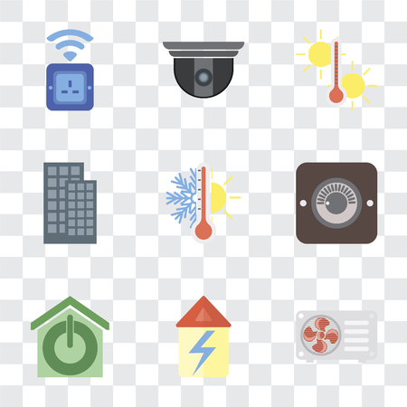 Set Of 9 simple transparency icons such as Air conditioner, Home, Smart home, Dimmer, Thermostat, Temperature, Security camera, Socket, can be used for mobile, pixel perfect vector icon