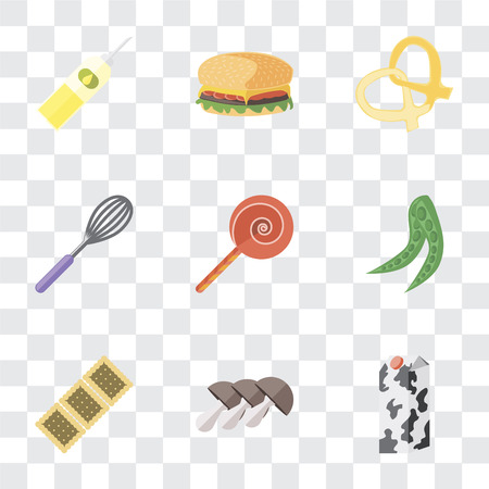 Set Of 9 simple transparency icons such as Milk, Mushrooms, Biscuit, Peas, Jawbreaker, Whisk, Pretzel, Hamburguer, Oil, can be used for mobile, pixel perfect vector icon pack on transparent Ilustrace