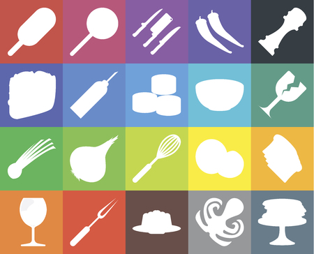 Set Of 20 icons such as Pancakes, Octopus, Jelly, Fork, Glass, Pepper, Toast, Whisk, Chives, Oil, Bowl, Ice cream, Knives, web UI editable icon pack, pixel perfect Ilustração