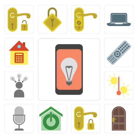 Set Of 13 simple editable icons such as Mobile, Door, Handle, Smart home, Voice control, Temperature, Smart, Remote, Home, web ui icon pack