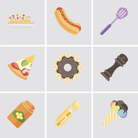 Set Of 9 simple editable icons such as Ice cream, Butter, Honey, Pepper, Doughnut, Pizza, Spatula, Hot dog, Risotto, can be used for mobile, pixel perfect vector icon pack