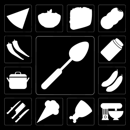Set Of 13 simple editable icons such as Spoon, Mixer, Ham, Ice cream, Knives, Cucumber, Pot, Jam, Pepper on black background Illustration