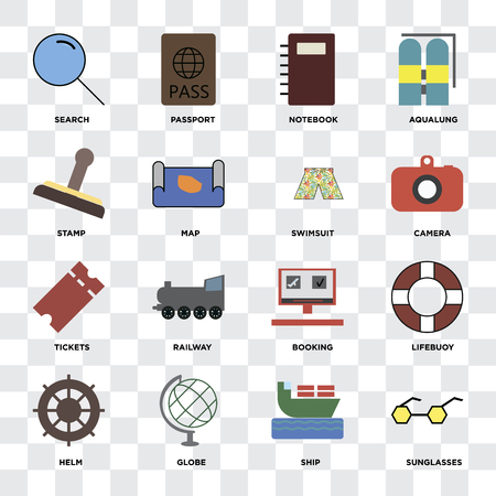 Set Of 16 icons such as Sunglasses, Ship, Globe, Helm, Lifebuoy, Search, Stamp, Tickets, Swimsuit on transparent background, pixel perfect