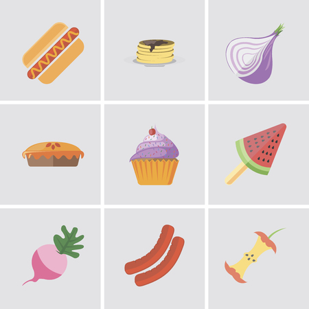 Set Of 9 simple editable icons such as Apple, Sausage, Radish, Ice cream, Cupcake, Pie, Onion, Pancakes, Hot dog, can be used for mobile, pixel perfect vector icon pack Çizim