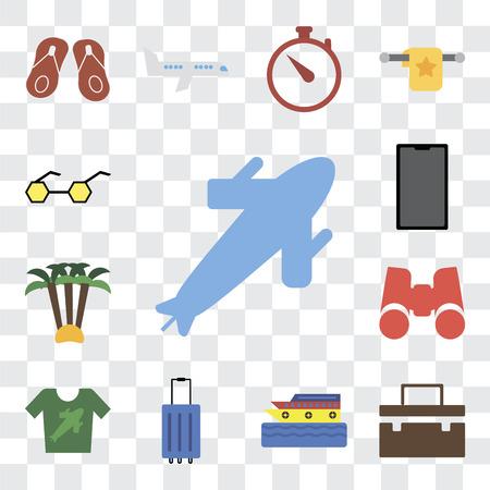 Ensemble de 13 icônes modifiables transparentes telles que Avion, Valise, Croisière, Bagage, Chemise, Jumelles, Palmier, Téléphone, Lunettes de soleil, pack d'icônes d'interface utilisateur Web, ensemble de transparence Vecteurs