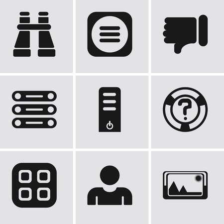 Set Of 9 simple editable icons such as Picture, User, Menu, Help, Server, Database, Dislike, Binoculars, can be used for mobile, pixel perfect vector icon pack  イラスト・ベクター素材