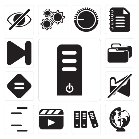 Set Of 13 simple editable icons such as Server, Worldwide, Archive, Video player, Lines, Muted, Equal, Folder, Next, web ui icon pack