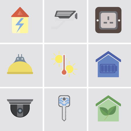 Set Of 9 simple editable icons such as Smart home, key, Security camera, Temperature, Lightbulb, Plug, Cctv, Home, can be used for mobile, pixel perfect vector icon pack