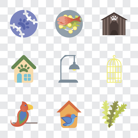 Set Of 9 simple transparency icons such as Seaweed, Bird house, Parrot, cage, Lamp, Pet shop, Kennel, Fish food, Tennis, can be used for mobile, pixel perfect vector icon pack on transparent Banque d'images - 111927012