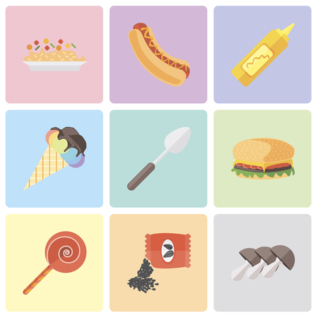 Set Of 9 simple editable icons such as Mushrooms, Seeds, Jawbreaker, Hamburguer, Spoon, Ice cream, Mustard, Hot dog, Risotto, can be used for mobile, pixel perfect vector icon pack
