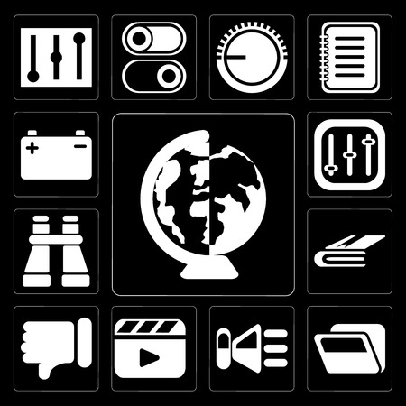 Set Of 13 simple editable icons such as Worldwide, Folder, Speaker, Video player, Dislike, Notebook, Binoculars, Controls, Battery on black background Illustration