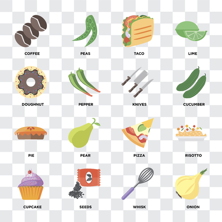 Set Of 16 icons such as Onion, Whisk, Seeds, Cupcake, Risotto, Coffee, Doughnut, Pie, Knives on transparent background, pixel perfect Illustration