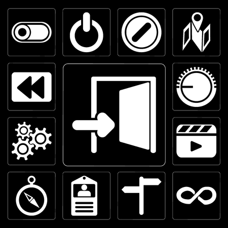 Set Of 13 simple editable icons such as Exit, Infinity, , Id card, Compass, Video player, Settings, Volume control, Rewind on black background Illustration