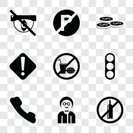 Set Of 9 simple transparency icons such as No alcohol, Boy, Telephone, Traffic light, food, Warning, Coins, parking, Hidden, can be used for mobile, pixel perfect vector icon pack on Foto de archivo - 111927019