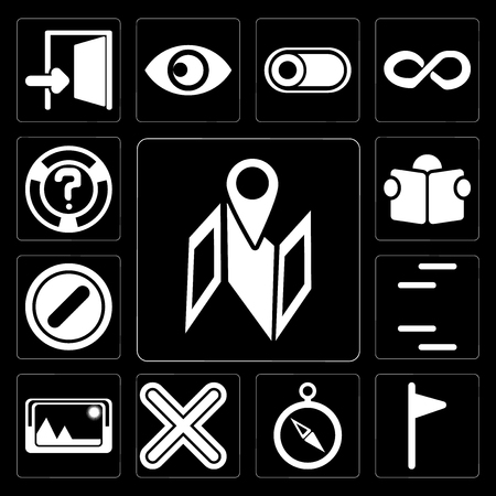 Set Of 13 simple editable icons such as Map, Flag, Compass, Multiply, Picture, Lines, Forbidden, Reading, Help on black background