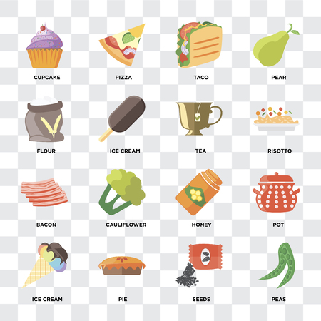 Set Of 16 icons such as Peas, Seeds, Pie, Ice cream, Pot, Cupcake, Flour, Bacon, Tea on transparent background, pixel perfect Illustration
