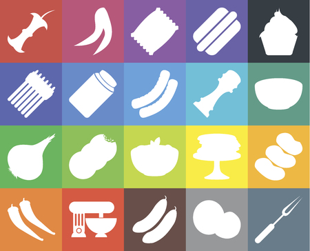 Set Of 20 icons such as Fork, Coconut, Cucumber, Mixer, Pepper, Cupcake, Potatoes, Pasta, Onion, Pickles, Apple, Bowl, Chips, web UI editable icon pack, pixel perfect