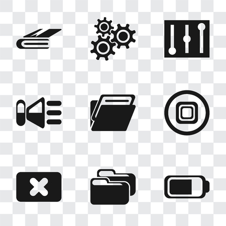Set Of 9 simple transparency icons such as Battery, Folder, Close, Stop, Speaker, Controls, Settings, Notebook, can be used for mobile, pixel perfect vector icon pack on transparent