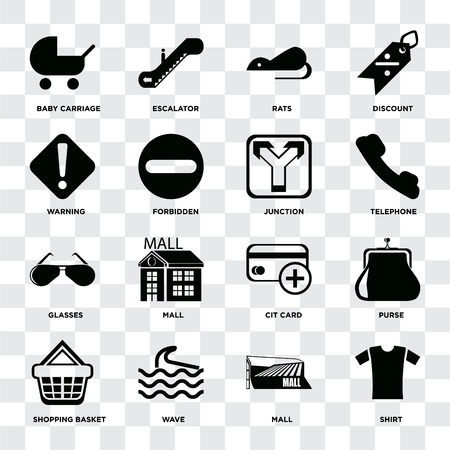 Set Of 16 icons such as Shirt, Mall, Wave, Shopping basket, Purse, Baby carriage, Warning, Glasses, Junction on transparent background, pixel perfect