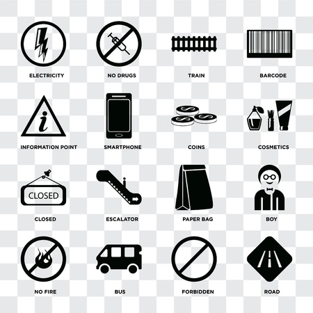 Set Of 16 icons such as Road, Forbidden, Bus, No fire, Boy, Electricity, Information point, Closed, Coins on transparent background, pixel perfect Ilustracja