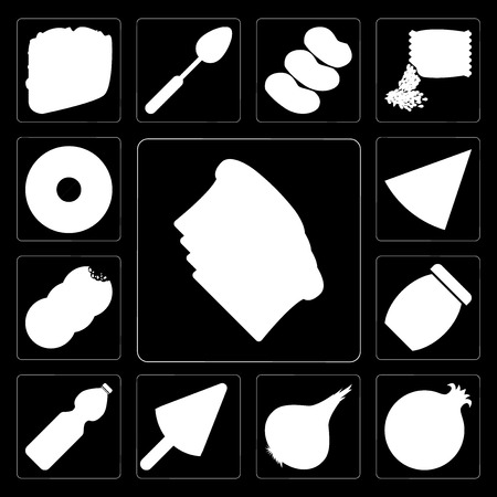 Set Of 13 simple editable icons such as Toast, Pomegranate, Onion, Ice cream, Water, Jam, Cookies, Pizza, Doughnut on black background