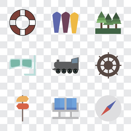 Set Of 9 simple transparency icons such as Compass, Waiting room, Pointer, Helm, Railway, Snorkel, Forest, Surfing, Lifebuoy, can be used for mobile, pixel perfect vector icon pack on transparent
